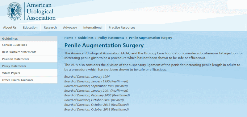 American Urological Association Guidance on Penis Enlargement Surgery